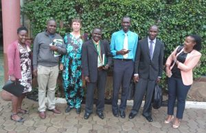 Group Photo of PHARMBIOTRAC Team, hosting THETA Executive Director Dr. Joseph Kabera Baguma and Mr. Alex Erejo, Senior Programme Officer on 03rd April 2018