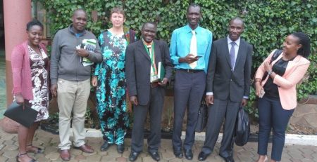 Group Photo of PHARMBIOTRAC Team, hosting THETA Executive Director Dr. Joseph Kabera Baguma and Mr. Alex Erejo, Senior Programme Officer on 03rd April 2018