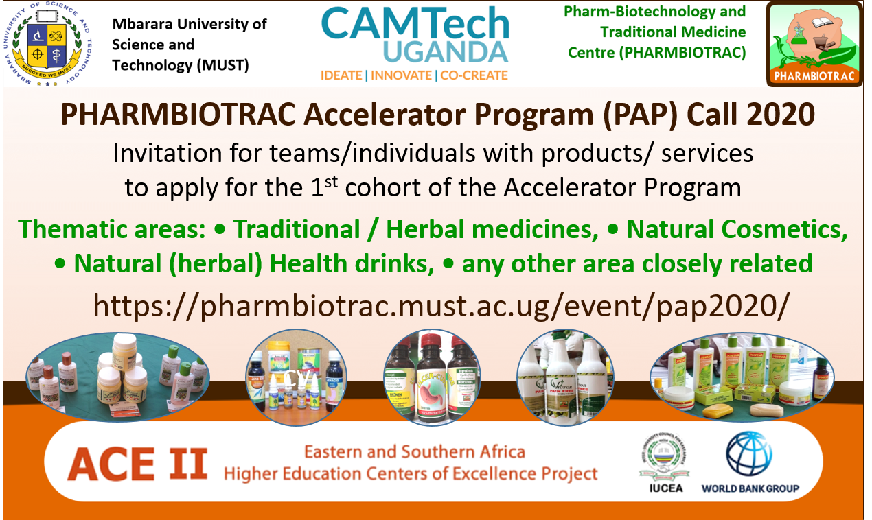 Poto of a poster with the PHARMBIOTRAC Accelerator Program (PAP) Call 2020 information