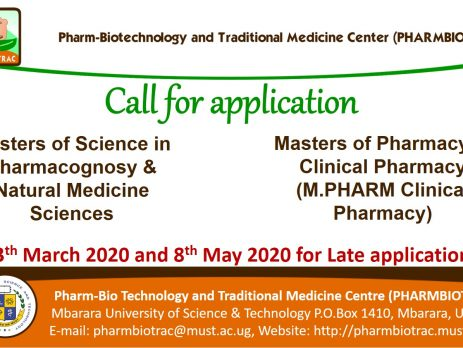 Call for Applicants for Masters of Pharmacy in Clinical Pharmacy (M.Pharm Clinical Pharmacy), Masters of Science in Pharmacognosy & Natural Medicine Sciences